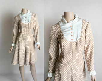 Vintage 1960s Polka Dot Dress - Pastel Cocoa Brown and White Mod Style Ruffle Bib Yoke Dress - Medium