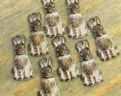 Bunny Charms - 6 pcs - Tiny Aged White Brass Bunny Charms - Rabbit Charms - Easter Charms - Patina Queen