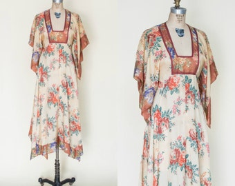 1970s Boho Dress --- Vintage Handkerchief Dress