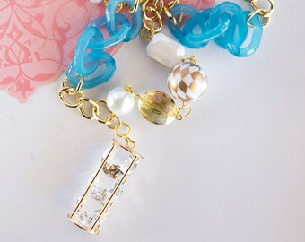 BEVERLY HILLS BABE - Blue Couture Beaded Crystal and Lucite Diamond Charm Necklace