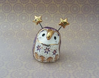Violet Fairy Owl Ceramic Sculpture