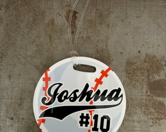 Baseball Name Tag, Sports Tag, Luggage Tag Round Custom Personalized for your sports bag