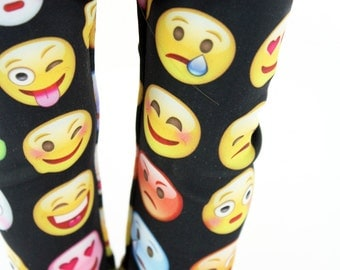 Fits like American Girl Doll Clothes - Emoticon / Emoji Leggings in Black, Made To Order
