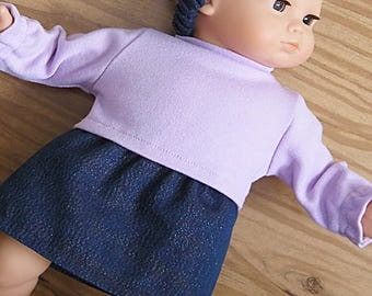 Bitty or Twin Doll Clothes - Skirt 3 piece Set - Iridescent Denim Cotton Skirt, Lavender Top and Matching Headband