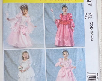 McCalls M6897 Uncut Sewing Pattern Toddler Girl Full length Costume Dress Sz CDD 2-5 Just Pretend Kids Child