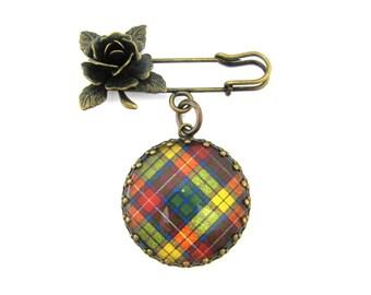 Scottish Tartan Jewelry - Ancient Romance Series - Buchanan Clan Tartan Sculpted Rose Fob Brooch
