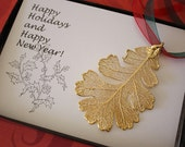 Gold Oak Leaf Ornament, Real Lacey Oak Leaf, Extra Large, Ornament Gift, Christmas Card, Happy Holiday Gift, First Christmas, ORNA87