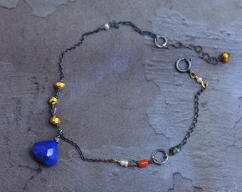 Lapis Lazuli Drop Bracelet - Oxidized Sterling Silver Bracelet - Mixed Metal Bracelet - Dainty 14kt Gold Bracelet -Mixed Stone Bracelet