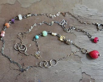 Oxidized Sterling Silver Ruby Necklace - Mixed Stone Necklace - Multi Color Necklace - Dainty Gemstone Necklace - Rustic Boho Necklace