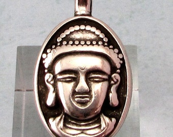 Buddha Pendant with Bail, Antique Silver, Double Sided, AS418