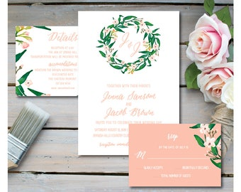 Printable Floral Wedding Invitation Set / Printable Wedding Invitation- Watercolor, Monogram