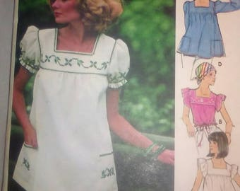 Vintage Sewing Pattern Butterick 4631 Ruffled Yolked Shirts Hippie Boho Tops with Pockets