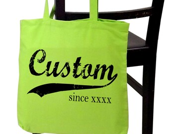 Custom tote bag, personalized, screenprinted canvas tote, any name, any year