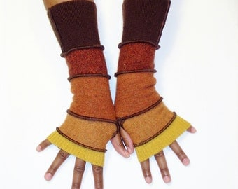 Fingerless Gloves, Armwarmers, Earth Tone Gloves(Gold/Amber/Sienna/Brick Red/Patched Brown) by Brenda Abdullah
