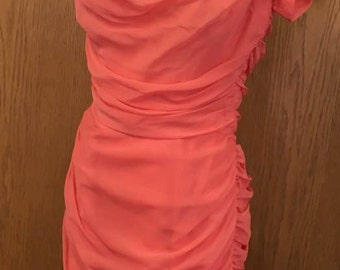 Stunning 1950's Ruched Coral Wiggle Dress Size Small