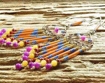 Seed bead earrings | fringe earrings | long earrings