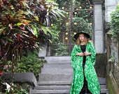 SALE Green Kimono Dress, Plus Size Kimono Robe, Wrap Dress, Floral Robe, Beach Kimono, Plus Size Robe, Holiday Vest Dress, Long Cardigan