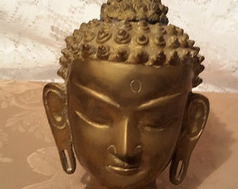 Brass Buddha Head from India 1960s