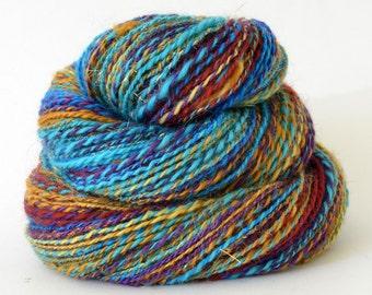 Handspun Yarn -  Hand Spun Merino Silk Bamboo Yarn - Art Yarn- 1.75oz, 200yd, 17WPI