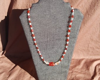 Red & Clear Beaded Necklace