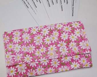 Coupon 0rganizer, Receipt Organizer, Daisy Pink & White Floral Fabric, Cardstock Printed Dividers, Gift for Mom, Shoppers Gift, Cottage Chic