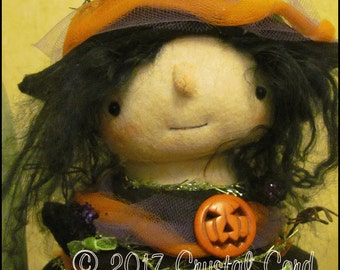 Halloween tree girl Doll orange purple green pumpkin Whimsical gothic cottage chic shabby primitive creepy cute witch decor Farm Quirky