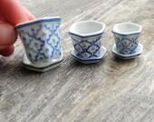 Miniature Blue & White Pot Set with Sedum Cuttings, Authentic Glazed Porcelain Pot with Saucers, Asian Miniatures, Authentic Dollhouse Minis