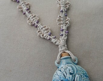Ceramic Fairy Bottle Necklace with Hemp Macrame and Glass Accents - Natural Woodland Hippie