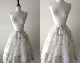 1950s Vintage Skirt - 50s Golden Full Skirt