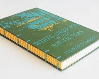 Vintage Book Journal / Recycled Old Book Sketchbook / White Shadows in the South Seas Rebound Journal by PrairiePeasant