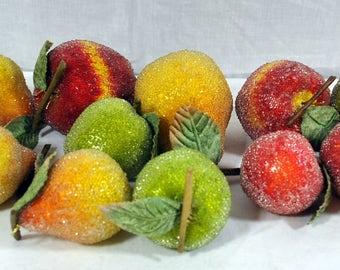 Large Lot of Vintage Sugared Fruit - Pears, Apples, Lemons - Artificial Fruit for Arrangements or Decor