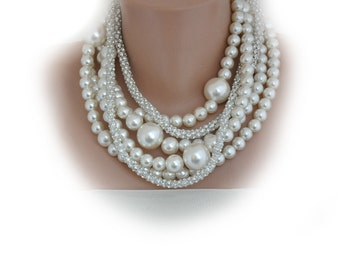 Pearl  Necklace, Bridal Bold Chunky Ivory Pearl Necklace with Rhinestone chain