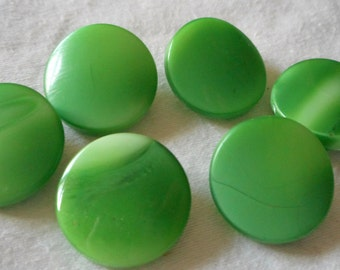 Set of 6 VINTAGE Marble Green Glass BUTTONS