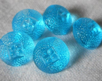 Set of 5 VINTAGE Small Texture Blue Glass Baby Doll Size BUTTONS