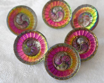 Set of 6 VINTAGE Small Iridescent Flower Glass BUTTONS