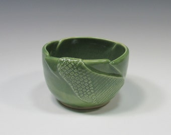 Ceramic Soup Bowl - pottery dip bowl - green bowl - soup bowl - ice cream bowl - noodle bowl - rice bowl - chili bowl - soup mug
