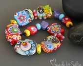 Handmade lampwork beads  l  free-formed   l  These Happy Days   l SRA   l  glass set   l   made by Silke Buechler