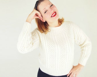 60s Cream Irish Fisherman Style Pullover Sweater Chunky Handknit M L