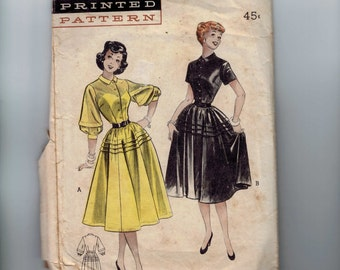 c01339f84bbaa 1950s Vintage Sewing Pattern Butterick 6166 Misses Full Skirted Dress with  Button Front Size 14 Bust 32 50s 99