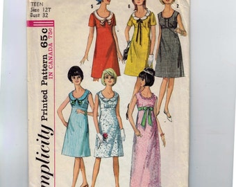 1960s Vintage Sewing Pattern Simplicity 5966 Junior Misses High Waisted Dress with Scoop Neck Size 12 Bust 32 1965 60s