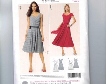 Misses Sewing Pattern Burda 6638 A Line Scoop Neck Dress with Side Drape Detail Size 8 10 12 14 16 18 UNCUT