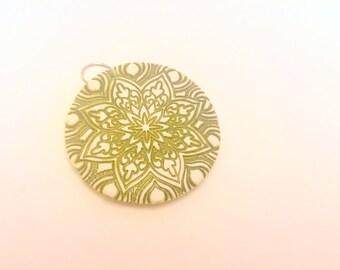Green Flower Star Handmade Polymer Clay Pendant