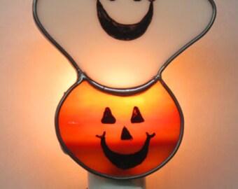 Ghost Nightlight x2 - Pumpkin Night light - Ghost and Pumpkin Nightlight - Stained Glass Night light - Halloween Night light