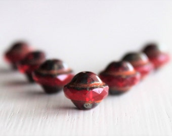 25 Ruby Picasso Picasso 8x10mm Czech Glass Saturn Beads