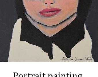 Original Acrylic Portrait Painting Mixed Media Collage Art Little Scholar Girl Black Glasses Wall Decor