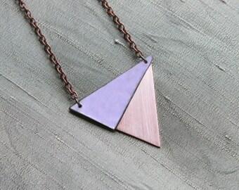 Triangle copper necklace, Geometric purple copper necklace, Triangle jewelry. Triangle pendant, Geometric pendant