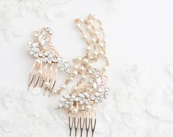 Pearl Chain Headpiece Hair Swag Wedding Hair Accessories Rose Gold Bridal Head Piece Pearl Chain Halo  SIAN