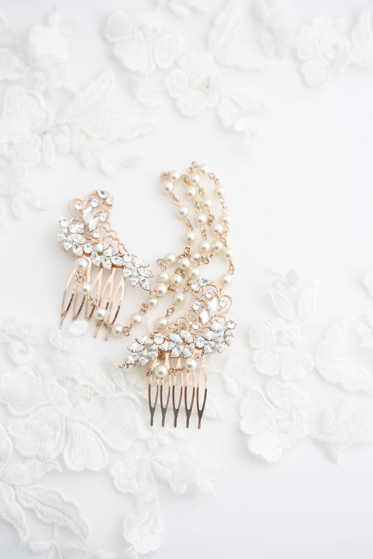 Rose gold wedding hair accessories - Pearl Chain Headpiece Hair Swag Wedding Hair Accessories Rose Gold Bridal Head Piece Pearl Chain Halo Sian