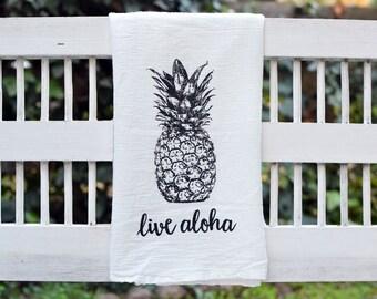Aloha Pineapple Cute Flour Sack Kitchen Tea Towel, Dish Towel, Tropical, Fruit, Home Decor, Housewarming Gft