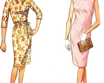 1960s Dress Pattern Slim Dress Jiffy Simplicity Cowl Neck Tie Belt Vintage Sewing Women's Misses Size 14 Bust 34 Inches